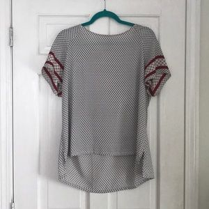 Loft White Patterned T-Shirt with Detailed Sleeves